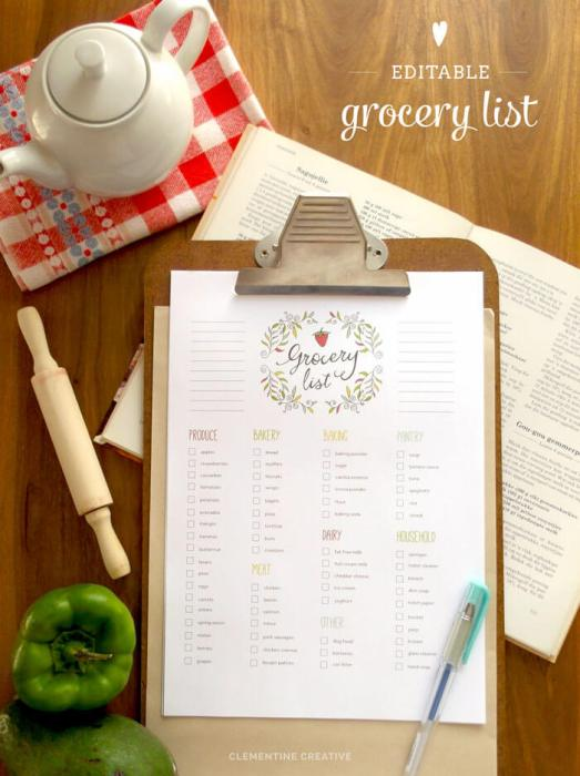 Printable Editable Grocery List
