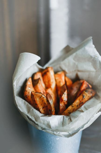 Sweet potato fries in a pot