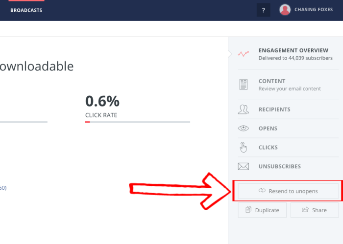 ConvertKit's resend to unopen emails button
