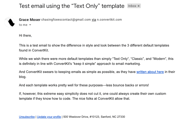 "A test email sent with ConvertKit showing the ""Text Only"" template"