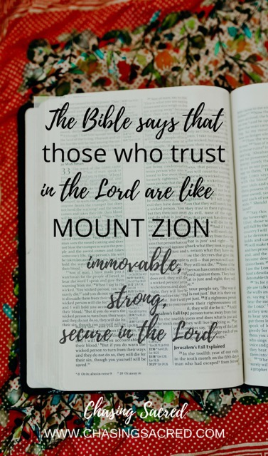 The Bible says that those who trust in the Lord are like Mount Zion. Immovable, strong, secure in the Lord.