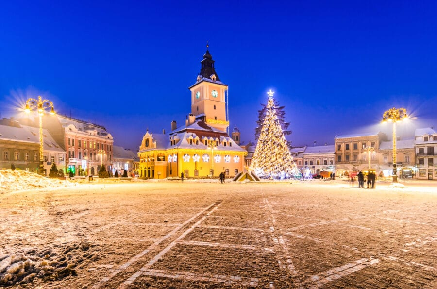 How to get from Brasov to Bucharest - Brasov, Romania with an old Christmas tree