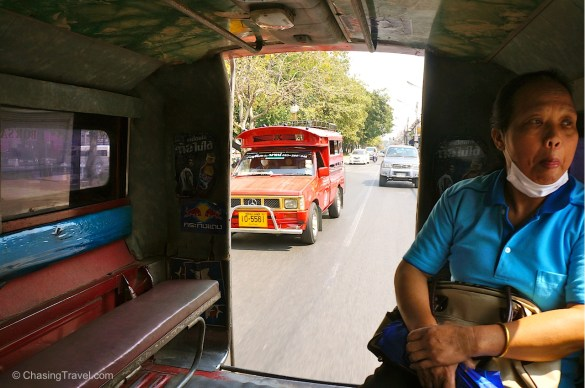In Chiang Mai the taxis are red pickup trucks called songthaews