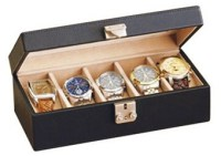 Leather Watch Box - Locking Multiple Watch Holder Jewelry Case