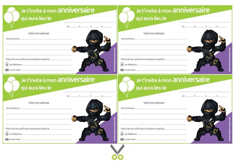 invitations a imprimer pour anniversaire ninjas