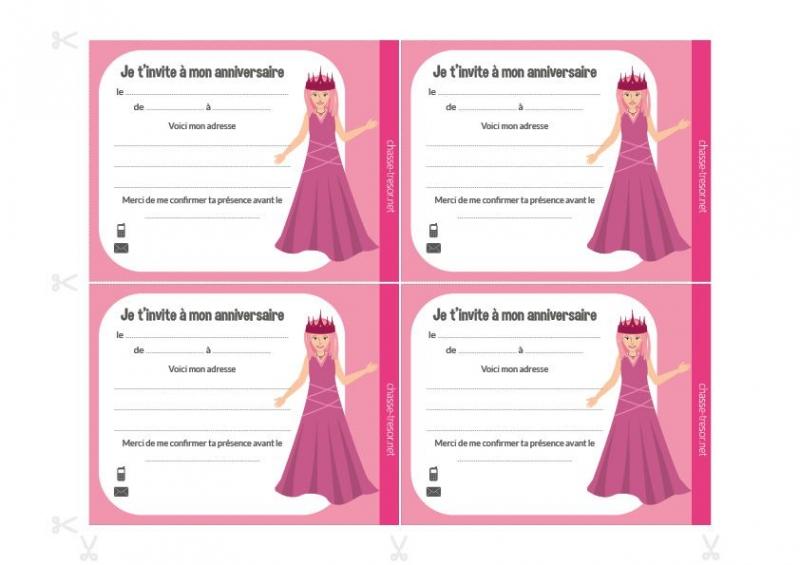 invitations a imprimer pour anniversaire princesses