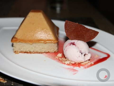 Peanut Butter and Jelly – peanut butter mousse, strawberry gelee, banana financier