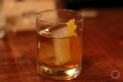 """Swine Old Fashioned"" Bacon Fat Washed Bulleit Bourbon, Grade-A Maple Syrup, Swine Bitters, Orange Zest"
