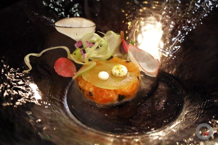 Arctic Char w/ green apple, fennel, elderberry frozen disc, horseradish cream, celery