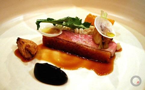 Duck (dry aged), creamed barley, roasted turnip, black trumpet mushroom purée, persimmon
