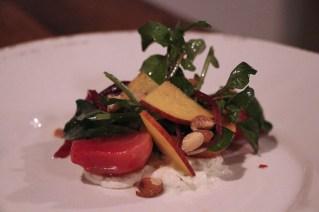 Insalata di Barbabietola with beets, gorgonzola, watercress, peaches, almonds