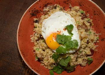 Duck Confit & Chinese Sausage Fried Rice – Green beans, sunny side up egg