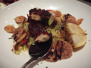 Grilled Octopus – duck fat potatoes, red chilies, celery, aged balsamic, chive
