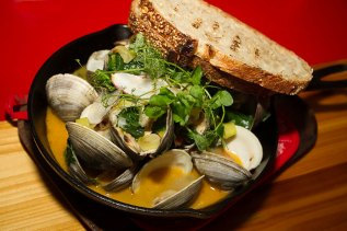 Florida Middleneck Clams – Chorizo, Watermelon Radish, Leeks, Grilled Bread