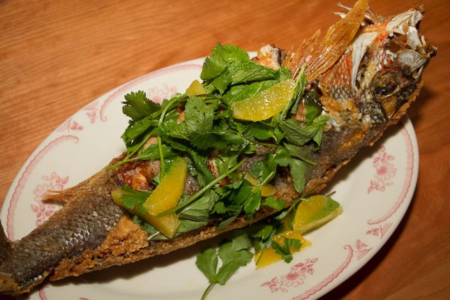 Whole Fried Daily Catch – Florida Citrus & Rooftop Herb Salad