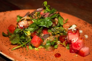 Smoked Duck & Watermelon Salad – Cured, smoked duck breast, watermelon, watermelon rind and lemongrass caramel dressing
