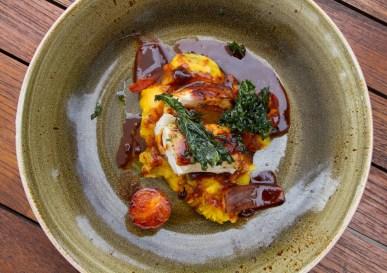 Grouper Chorrillana – grouper, tamarind chorrillana sauce, mashed yuca, smoked bacon