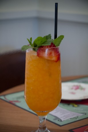 Brunchy Spritz with passion fruit, Aperol, Bombay Dry Gin, hopped grapefruit bitters, cava