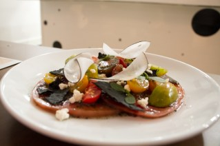 Heirloom Tomato Fattoush Salad, black sesame, sheep's milk feta