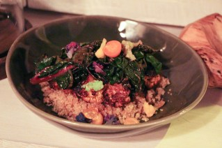 Toasted quinoa, charred greens, marinated tomatoes, winter pomegranate reduction