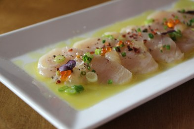 Wahoo Crudo – lemon vinaigrette, apple purée, trout roe