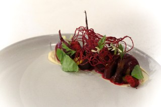 Beet A L'Orange – honey comb miso, purple carrot, local cheese, arugula