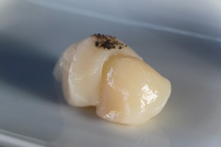 Scallop with Black Sea Salt Smoked in Bamboo