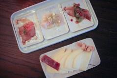 Ceviche sampler & Spanish cheeses (manchego, tetilla, and Murcia al vino) &