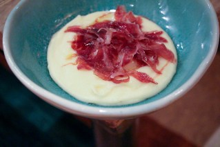 Half-Cooked Egg with potato patmentier and Iberian ham