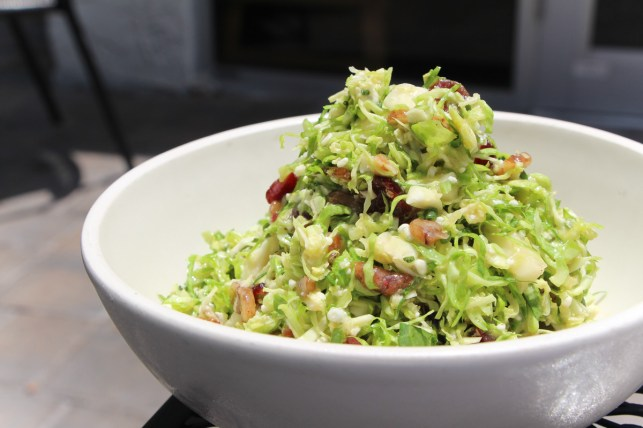 Shaved Brussels Sprout Salad with apple cider vinegar, gorgonzola, pecans and dried cranberries
