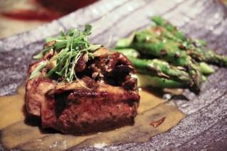 Filet – grilled asparagus, mushroom, foie gras sake
