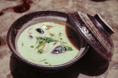 Coconut Soup – tiger prawns, pei mussels, tapioca pearls, serrano chili