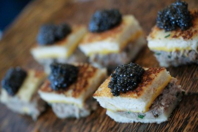 Morcilla topped with smoked trout caviar, and a grilled cheese fillet topped with Osetra caviar