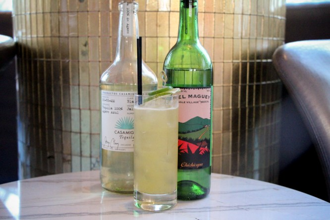 Fire in the Hole with poblano pepper infused Cabeza tequila, passion fruit and vanilla syrup, lime, Chichicapa mezcal and jalapeño