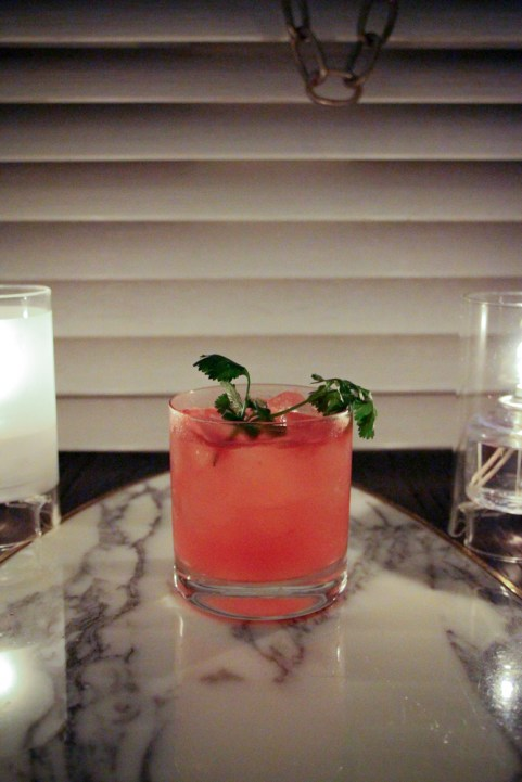 Bari refreshes with Corzo Blanco, watermelon, jalapeno, basil, cilantro, agave syrup and lime juice