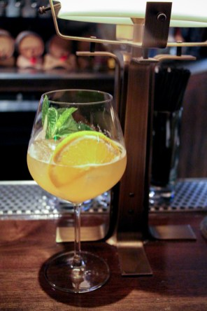 Pimm's Cup 74 with peppercorn infused with Plymouth Gin, pineapple, Pimm's No. 1, lemon and mint