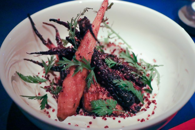 Roasted Heirloom Carrots made with Greek yogurt, ginger, honey and crispy quinoa