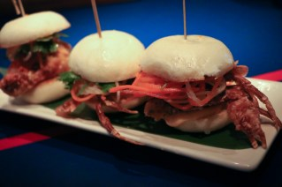 Softshell Crab Bao Buns topped with spicy mayo and slaw