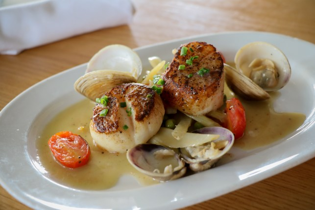 Seared Scallops - Fennel, Tomatoes, Peas, Clam Jus