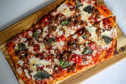 Spiced Lamb Flatbread w/ roasted tomato sauce, smoked mozzarella, basil