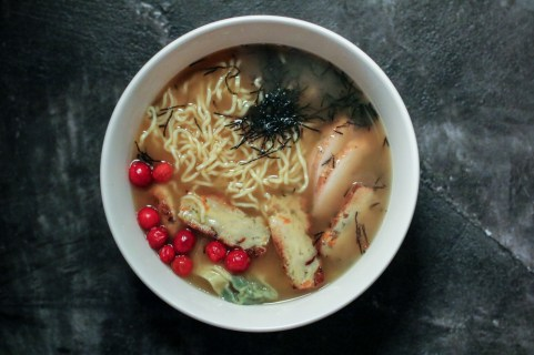 Ramen Special - Glazed Turkey, Balls Of Stuffing, Whole Cranberries, Creamed Spinach Wontons & Mushroom Gravy.