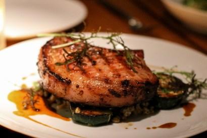 Smoked Pork chop with delicata squash and farro