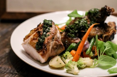 Half Wood Grilled Chicken with local vegetables and salsa verde