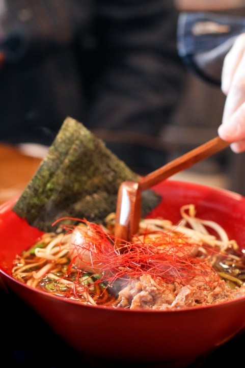 Beef Brisket Ramen with bean sprouts, bamboo shoots, takana, dehydrated red pepper strings and a Hanjuku egg
