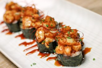 Futo Creamy Shrimp Roll with spicy tuna avocado and creamy shrimp