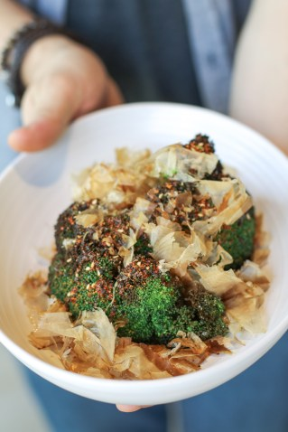 Whole Roasted Broccoli with red miso, togarshi, soy and bonito