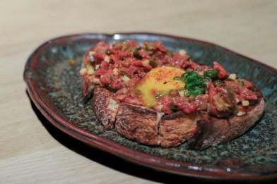 Beef Tartare w/ Japanese Mustard Vinaigrette & Soy Cured Egg Yolk