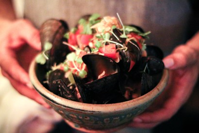 Rhode Island Bay Mussels – andouille sausage, shellfish broth, served with house-made focaccia