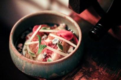 Warm Endive Salad – valdeon fonduta, walnut vinaigrette, speck, apple