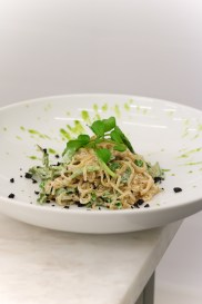 Cacio e Pepe w/ kelp noodles, watercress, green olive puree & sundries olives